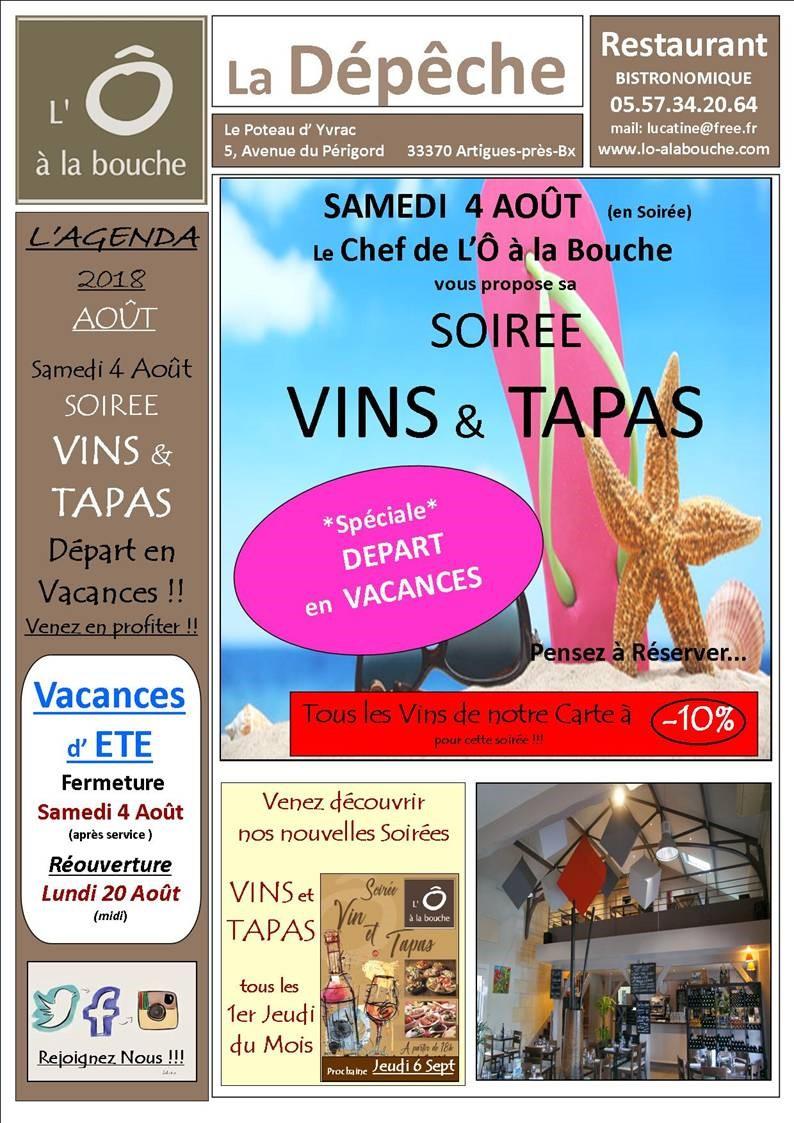 Vin et Tapas : Thème Départ en vacances